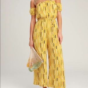 Lulu's off the shoulder yellow jumpsuit